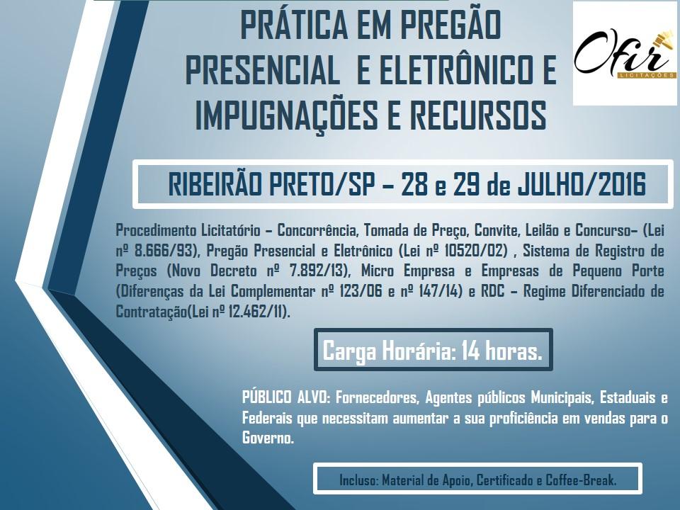 CURSO DE PREGÃO PRESENCIAL E ELETRÔNICO, RECURSOS E IMPUGNAÇÃO EM RIBEIRÃO PRETO – DIAS 28 E 29 DE JULHO