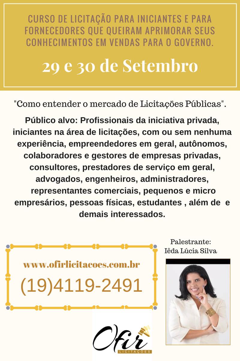 Curso De Licitação – RIO DE JANEIRO – DIAS 29 E 30 De Setembro