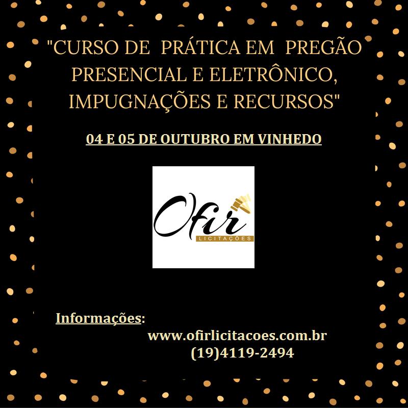 CURSO VIP EM VINHEDO – DIAS 04 E 05 DE OUTUBRO/2016