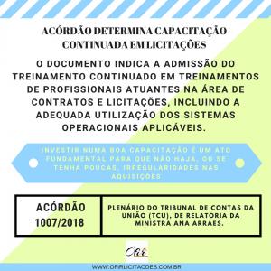 Acórdão 10072018 – Plenário do Tribunal de Contas da União (TCU), de Relatoria da Ministra Ana Arraes.